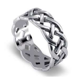 Sterling Silver 10mm Wide Celtic Band Ring Size 8 Jewelry