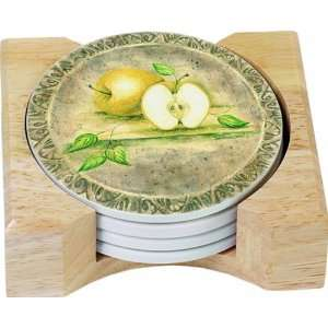 CounterArt Renaissance Fruit Design Round Absorbent Coasters in Wooden