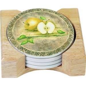 CounterArt Renaissance Fruit Design Round Absorbent Coasters in Wooden