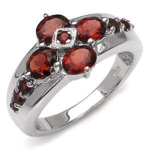 40 Carat Genuine Garnet Sterling Silver Ring