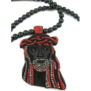 New Good Wood Iced Out Jesus NYC Pendant Black/Red Jewelry