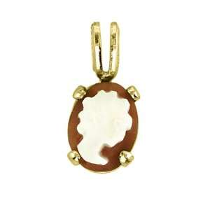 Hand Carved Cameo Pendant 10K Yellow Gold: Jewelry