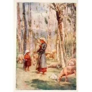 1905 Color Print Girls Shepherd Landscape Castentino Valley