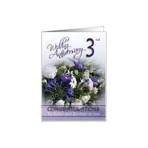 Sister and brother in law 3rd Wedding Anniversary Congratulations Card
