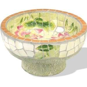 Lotus Pond Mosaic Tabletop Birdbath Patio, Lawn & Garden