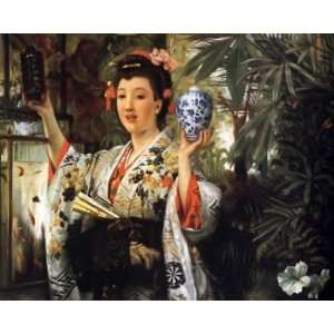Tissot Canvas Art Young Lady Holding Japanese Objects