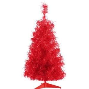 Red Hot Whimsical Curly Tinsel Artificial Christmas Tree   Red Lights