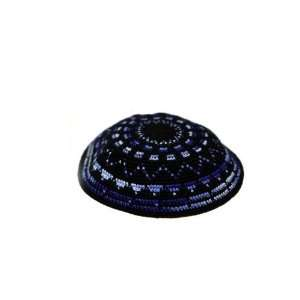 15cm Black DMC Knitted Kippah with Light and Dark Blue