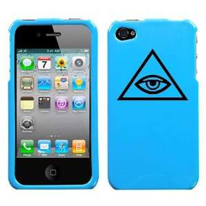 black all seeing eye in triangle design on sky blue turquoise phone