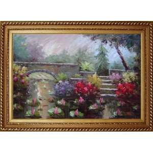 Lotus Pond, Bridge,Steps in a Garden Oil Painting, with