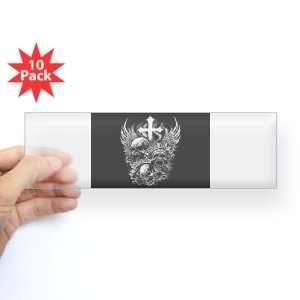 Sticker Clear (10 Pack) God Is My Judge Skulls Cross and Angel Wings