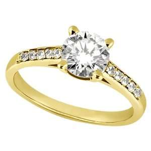 Cathedral Pave Diamond Engagement Ring Setting 14k Yellow Gold (0.20ct