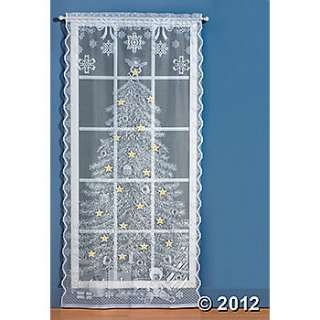 Christmas Tree Lighted Lace Curtain Panel, Rugs and Window Treatments