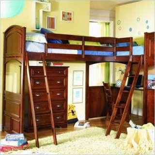 Lea Deer Run L Shaped Wood Bi Loft Bunk Bed Set In Brown Cherry Finish