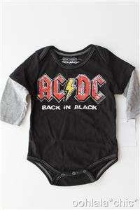 AC/DC ACDC Back in Black Baby Infant Newborn Boys Onesie Bodysuit 3m