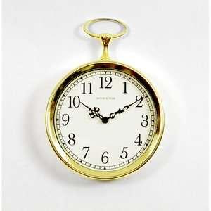 Ashton Sutton Pocket Watch Wall Clock in Bright Goldtone
