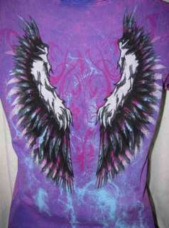 TIE DYE PURPLE & FUCHSIA HARLEY ANGEL WINGS LEOPARD HEART~N~FLAMES
