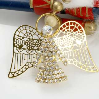 Christmas Gold Plated Guardian Angel Wing Decoration Brooch Pin