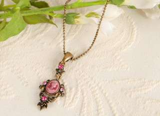 CAMEO Vintage st Pink Crystal Antique Gold GP Necklace n1475