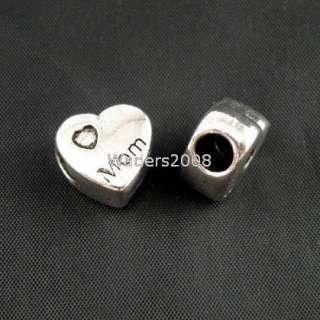 B5027/ 4Pcs Tibetan silver Heart fit charm bracelet
