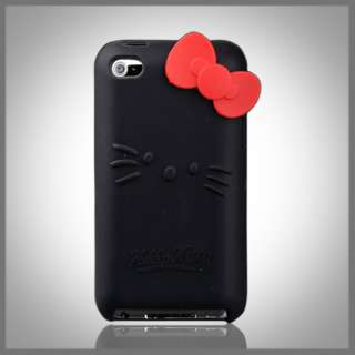FOR IPOD TOUCH 4 4G HELLO KITTY BLACK SILICONE BOW CASE COVER
