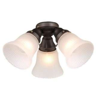 NEW 3 Light Ceiling Fan Lighting Kit, Oil Burnish Bronze, White Glass