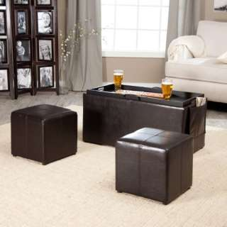Hartley Coffee Table Storage Ottoman with Tray, Side Ottomans & Side