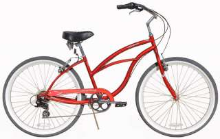 26 7 SPEED Beach Cruiser Bicycle Bike Urban Lady Red