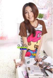 SUPER MARIO Womens Girl Cute Skirt Sleepwear Night suit Cotton Brown