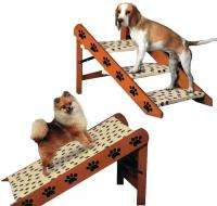 Sturdy Convertible Pet Dog 3 Steps Stairs Ramp Paw Print Design