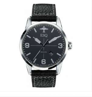 ESQ by Movado Mens Swiss Black Leather Strap Beacon Watch 07301392