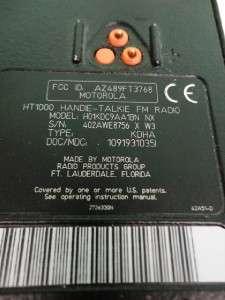 Motorola HT 1000 Radio H01KDC9AA1BN FCC ID: AZ489FT3768 Handie Talkie