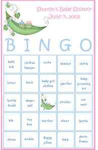 Bingo Pea Pod Baby Shower Party Game Card