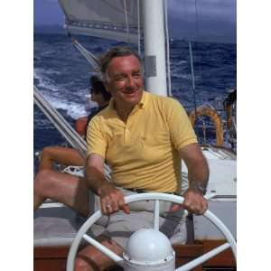 TV News Anchor Walter Cronkite at Wheel of Boat Stretched