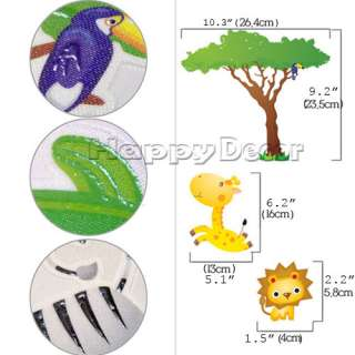 glow in the dark jungle animals kids wall removable decal sticker