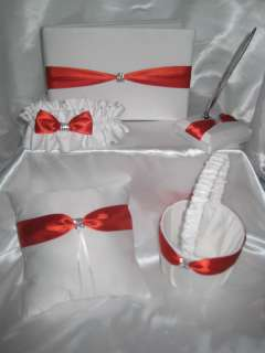 Beautiful white satin and persimmon wedding set includes guest book