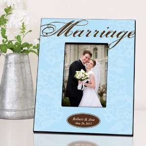 Wedding Favors Blue with Brown Marriage Picture Frame