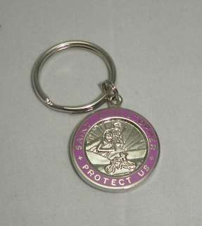 St Christopher Rides Harley Motorcycle Key Chain Medal