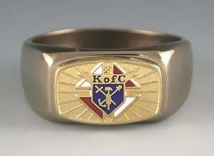 KNIGHTS OF COLUMBUS LOGO STAINLESS STEEL GOLD COLOR RING
