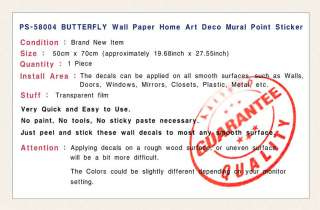 BUTTERFLY Removable Wall Paper Deco Decals Sticker PS04