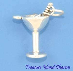MARTINI COCKTAIL GLASS w/ OLIVES Sterling Silver Charm