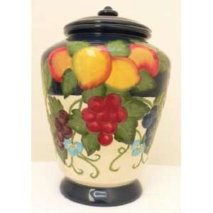 Cookie Jar: Ceramic Hand Painted Colorful Fruit Design All