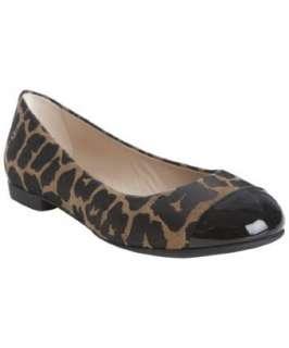Fendi brown and black leopard print cap toe ballet flats   up