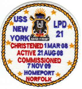 US NAVY SHIP PATCH, USS NEW YORK, LPD 21 Y