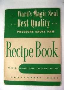 1947 Wards Magic Seal Pressure Cooker Manual Vintage