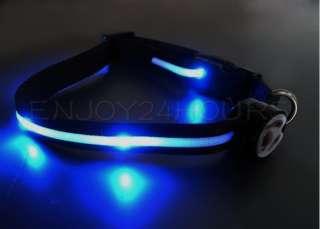 Dog Pet Blue LED Light Flashing Nylon Safety Collar Tag