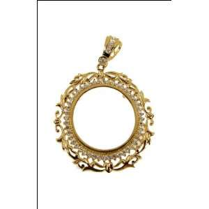 Bezel Frame Pendant Charm for 20 Pesos Mexican Coin 33mm Wide: Jewelry