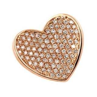 FINE PAVE SET DIAMOND HEART PENDANT NECKLACE 14K ROSE PINK GOLD