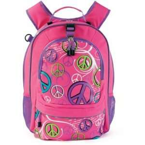 Pink and Purple Peace Sign Girls Backpack School Book Bag