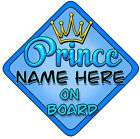 personalised baby on board car sign blue prince bright location united